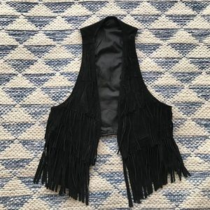 Genuine Suede Leather Black Fringe Vest Small XS